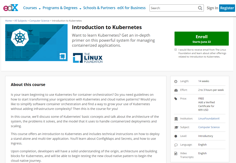 무료교육 : edX – Introduction to Kubernetes